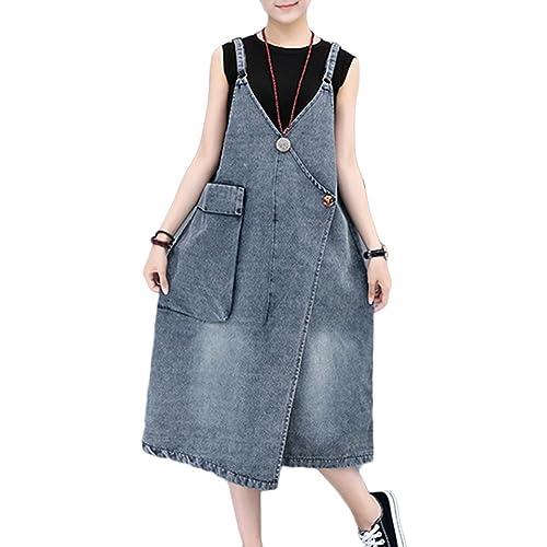 68c9ac58d5a GladiolusA Women Denim Dungarees Dress Pinafore Suspender Skirt Wrap Jean  Dress Loose Fit Overall Dress