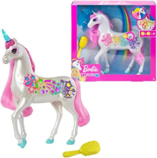Barbie Dreamtopia Brush 'n Sparkle Unicorn with Lights and Sounds, White with Pink Mane and Tail GFH60