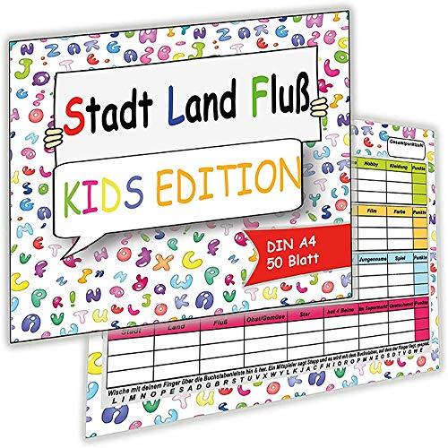 Stadt, Land, Fluß Junior Kids Edition für Kinder Jungen Mädchen Spielblock im Din A4-Format Block Geschenkidee Kindergeburtstag Gesellschaftsspiel