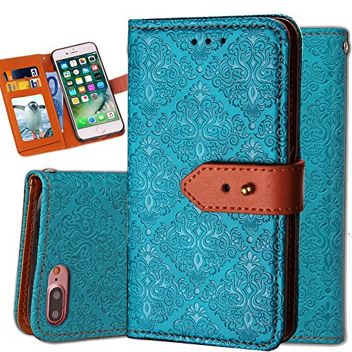 iPhone 6S Plus Leather Wallet Case,Auker Durable Folio Flip Vintage Fold Stand Case Full Body Shock Scratch Drop Protection Pocket Purse Cover with Card Holders&Wrist Strap for Women/Men-Blue