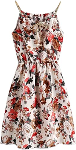 Girls Western Style Floral Print Knee Length Dress