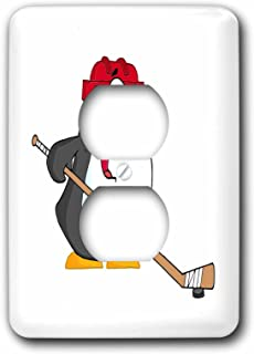 3dRose LLC lsp_118696_6 Funny Penguin Playing Ice Hockey Cartoon 2 Plug Outlet Cover
