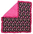 Dear Baby Gear Baby Blankets, Vintage Floral Hot Pink on Black, Hot Pink Minky, 32 Inches by 32 Inches