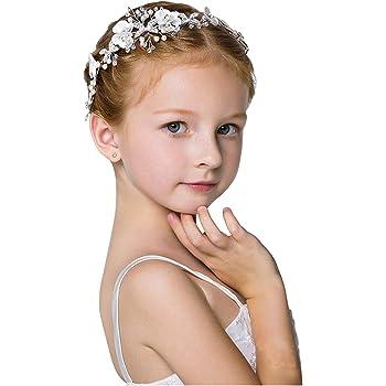 Kids Gift Rhinestone Headband Bow Knot Girls Pearl Crystal Hairband Tiara