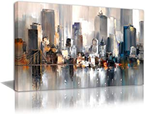 Abstract Cityscape City Landscape Canvas Wall Art Print Poster Modern New York Intercity Line Scenery Picture Decor Bedroom Home Office Living Room with Frame Stretching Can Hang 24x36inch