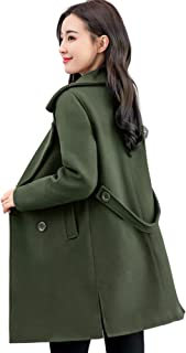 chouyatou Women's Elegant Lapel Collar Double Breasted Wool Blend Pea Coat with Belt