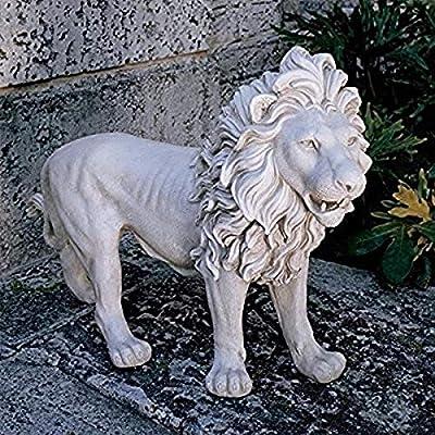 Design Toscano Regal Lion Sentinel of Grisham Manor Outdoor Entryway Garden Statue, Left, 37 Inch, Polyresin, Antique Stone