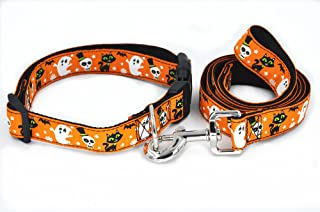 SLZZ Halloween Spirit Collection Designer Dog Collar and Leash Lead Set/Heavy Duty Adjustable for Small Medium Large Dogs