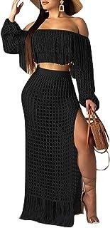 Aro Lora Women's 2pcs Bikini Swimsuit Cover up Beach Outfits Hollow Out Long Sleeve Crop Top Slit Maxi Skirt Dress Set