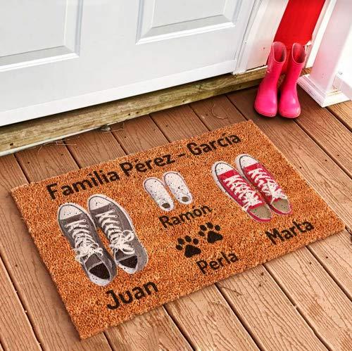 NANNUK - Felpudo Personalizado Fibra de Coco Familia 3 + Dog