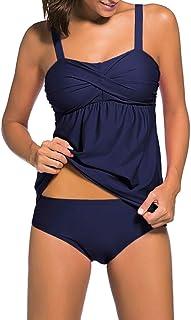 con fascia pushup pantaloncini bretelle regolabili f3075 Elegante completo da bagno Tankini allacciatura sul collo