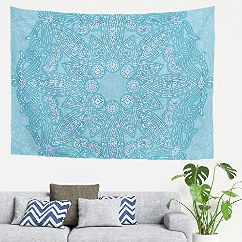 LIFOOST Tapestry Blue mandela Vintage Wall Tapestries -Mandela Art Beach Throws for Ceiling Decor white 91 * 59
