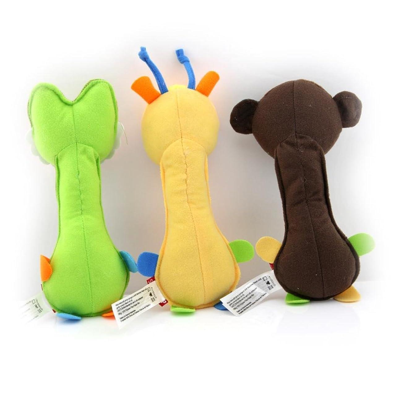 Owfeel Pack of 3 Giraffe Crocodile Monkey Baby Rattle Infant Educational Toys