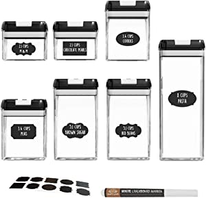 bjlongyi 7Pcs/Set Square Airtight Food Storage Containers Pantry Organization Sealed Jars Spice Box Condiment with Cover Black