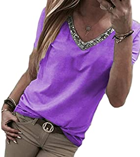 Women's Solid Short Sleeve Casual Plus Size Patchwork V Neck Blouse Top T Shirts Blue Medium