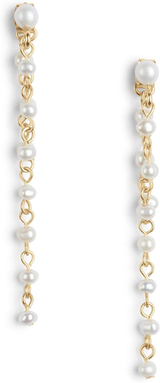 Lucky Brand Linear Pearl Drop Earrings, Gold