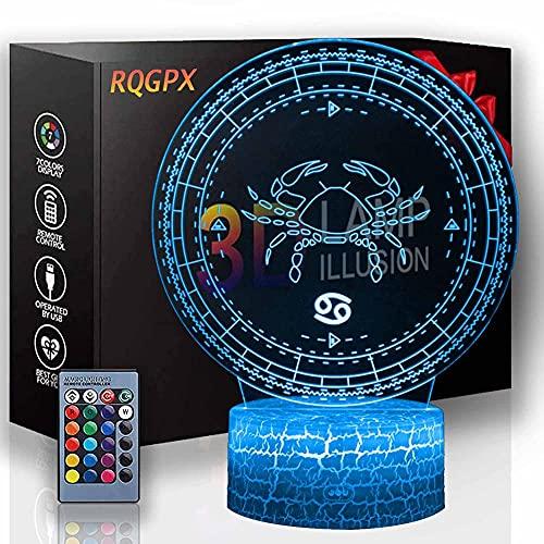 LED 3D luz nocturna, lámpara de ilusión óptica cáncer 16 colores cambiantes Touch lámpara de escritorio para niños cumpleaños regalos de Navidad