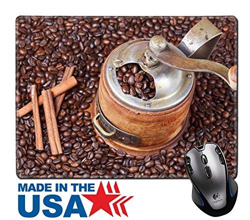 MSD Naturkautschuk Maus Pad/Matte mit genähte Kanten 9,8x 7,9Top View von Vintage Manuelle Kaffeemühle auf vielen Kaffeebohnen Zimt Bild 24414274