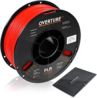 OVERTURE PLA Filament 1.75mm with 3D Build Surface 200mm × 200mm 3D Printer Consumables, 1kg Spool (2.2lbs), Dimensional Accuracy +/- 0.05 mm, Fit Most FDM Printer (Red)