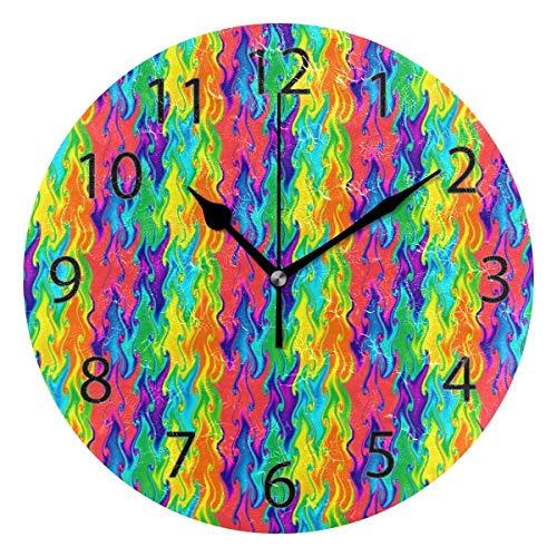 Reloj de pared decorativo para el hogar, oficina, silencioso, de madera, 25,4 cm, para sala de estar, oficina (arco iris psicodélico)