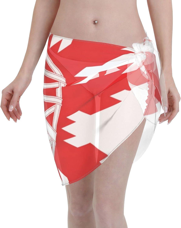 Flag of The Spanish Women Short Sarongs Beach Wrap, Beach Cover-Ups High Waisted Wrap Skirt with Slit,Sexy Sheer Swimsuit Bikini Wraps Chiffon, Soft Scarf for Swimwear Black