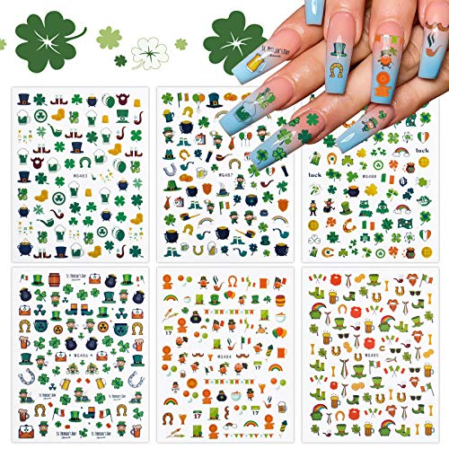EBANKU 6 Blatt St. Patrick's Day Nail Art Aufkleber, Glück der irischen Nail Art Decals Selbstklebende Nail Tips Dekorationen für Frauen Mädchen Maniküre DIY