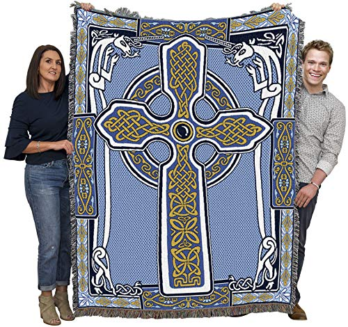 Celtic Knots Cross with Unicorn Blue Blanket Throw Woven from Cotton - Made in The USA (72x54)