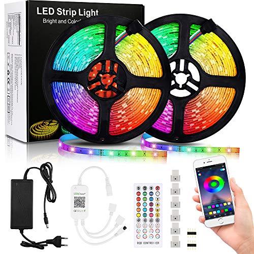 Tira de LED 10M, 5050 RGB LED Strip con Control Remoto de Música y Fuente de Alimentación, Impermeable Tira LED USB con 16 Cambios de Color, para Decoración de Habitacion, Hogar, Bar, Fiesta ⭐