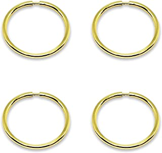 14K Gold Tiny Small Endless 10mm Round Thin Lightweight Unisex Hoop Earrings, Set of 2 Pairs