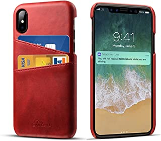 Compatible Apple iPhone X & iPhone Xs Case Cards Holder, 2 Credit Card ID Card Slots, Ultra Slim Protective Phone Case iPhone 5.8 inch - Red