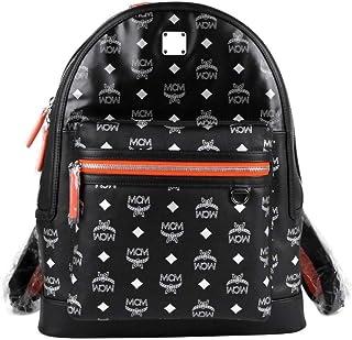 MCM Women's Resnick Black Leather Reflective Nylon Medium Backpack MUK9ARA15BK001