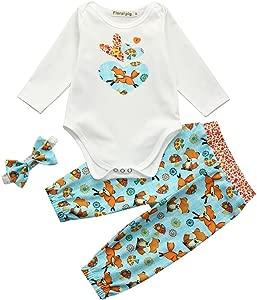 uBabamama Toddler Baby Outfits Long Sleeve Cartoon Fox Mushroom Love Printed Jumpsuit Pants Hair Strap Romper Set 3Pcs