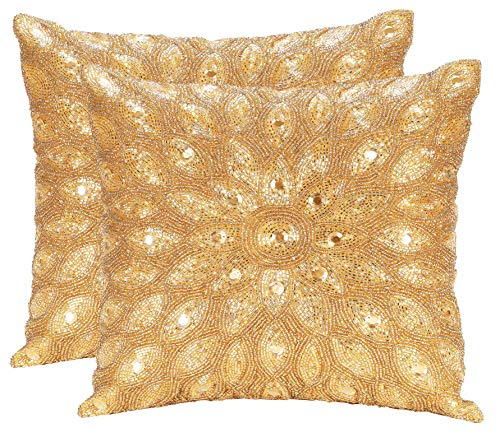 Hand Beaded Decorative Pillow Cover -12x12 Inch - Gold, Handwoven Pillow, Handmade by Skilled Artisans, A Beautiful and Elegant Accessory to Dress up Your Couch, Sofa and Bed - Only Cover - 2 Pack