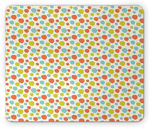 Kleurrijke muismat, ballonnen in de lucht Polka stippen strepen en geruite vierkanten patroon partij thema, standaard formaat rechthoek anti-slip rubber muismat, Multi kleuren