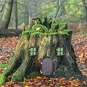 jacriah miniature fairy home door and windowsglow in dark fairies sleeping door and windowstree face yard lawn ornament art decor