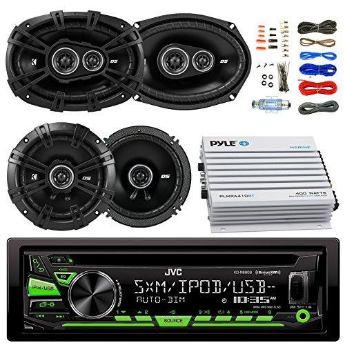 "JVC KDR680S Car Radio USB AUX CD Player Receiver - Bundle Kit with 2 Kicker DSC69304 6x9 Coaxial 3-Way Car Speaker + 2X DSC654 6.5"" 2-Way Speaker + 4-Channel Amplifier + Amp Kit"
