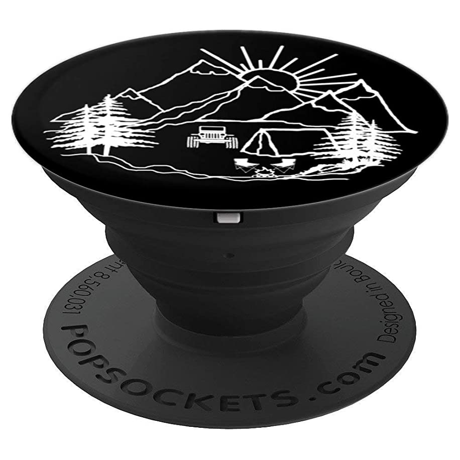 Jeep driver Camping in the Mountains - PopSockets Grip and Stand for Phones and Tablets