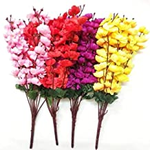 VRCT Polyester Fabric and Plastic Artificial Cherry Blossom Flower (Size 20 inches ,in 1 Bunch 7 String ) it is Set of 4 Pices