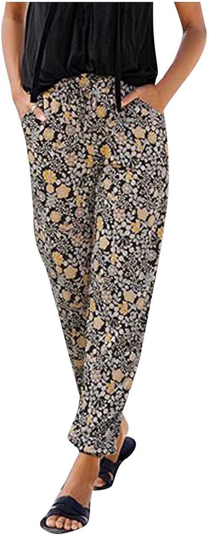 USYFAKGH Plus Size Women's Cotton Linen Pants Elastic Waist Capris Pants Side Pockets High Rise Loose Pants