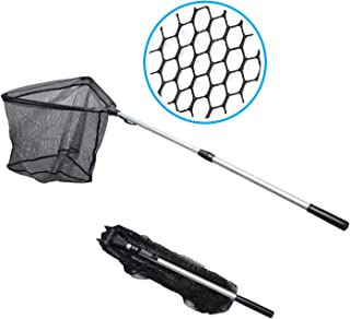 """Made Simple Aluminum Fishing Landing Net, Collapsible Fold-able 2 Section Telescopic Handle, Premium Nylon Material Net, Strong Light Durable Perfect Catch Release, 63"""" Unfolded"""