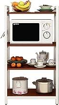 UYZ Rejilla de Cocina para el hogar/Estante múltiple montado en el Suelo/Rejilla para Horno microondas/Rejilla para tocador de Esquina Rejilla para Horno (Color: Marrón, Tamaño: 140 cm)