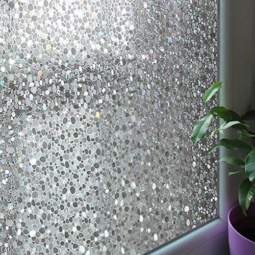Leyden 17.7-by-72-Inch Cut Glass Cobble Pattern No-Glue 3D Static Decorative Glass Window Films