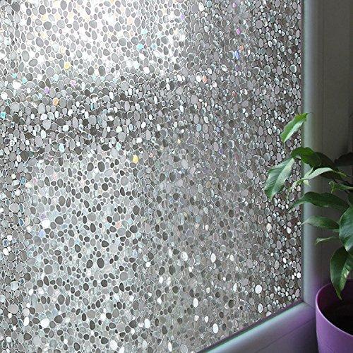 Leyden 17.7-by-72-Inch Cut Glass Cobble Pattern No-Glue 3D Static Decorative Glass Window Films