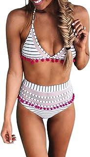 Bdcoco Women's High Waist Two Pieces Bikini Set Padded Stripe Tassel Swimsuit