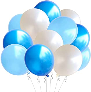 Elecrainbow 100 Pack 12 Inch 3.2 g/pc Thicken Round Pearlescent Latex Balloons for Party Decorations, White Dark Blue Light Blue Assorted