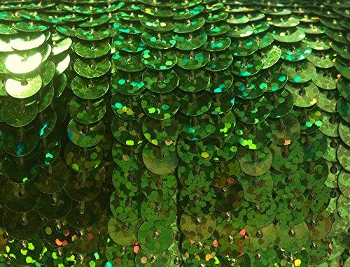 90 Meter langes, farbiges Paillettenband mit Hologramm-Effekt auf einer Rolle aufgewickelt - 6 mm breites Bortenband - Glänzende Paillettenbänder für Bastelprojekte, Tanzbekleidungen uvm. (Grün Holo)