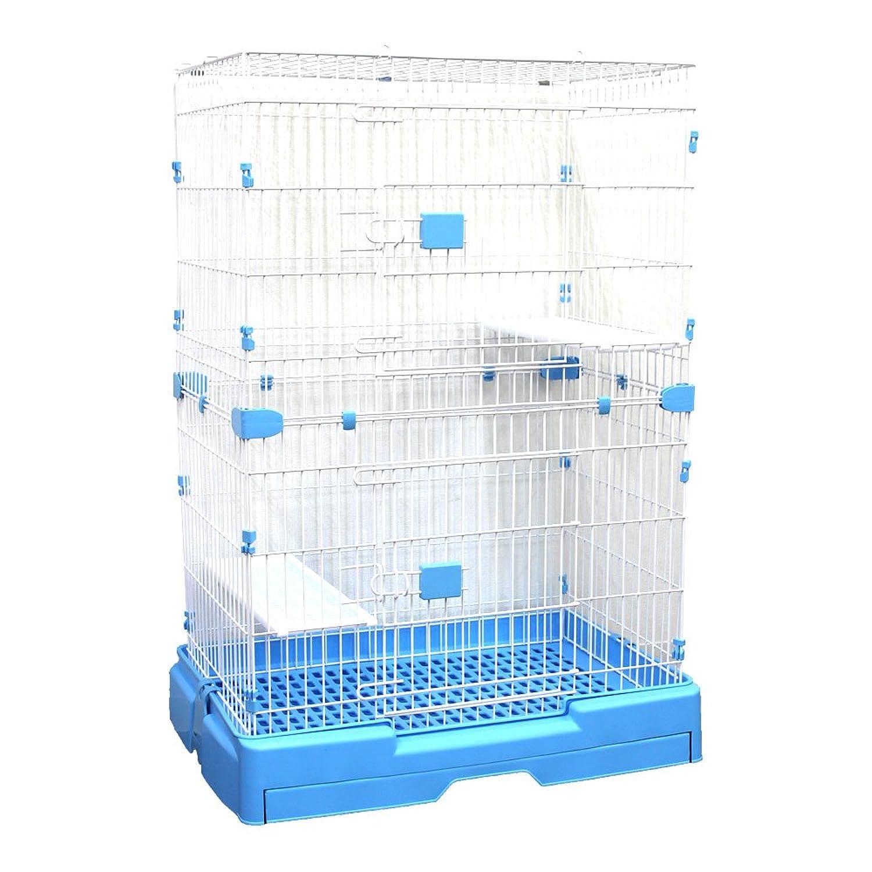 WEIMALL ペットケージ キャットケージ 2段 タイプ プラケージ 猫 ネコ ケージ カゴ 籠 (ブルー)