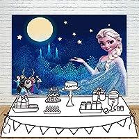 バナー小道具薄いビニール 色の風景 背景写真ブース 漫画 キットの背景デジタル印刷 凍った姫の森青い満月きらめく小さな星 写真カーテンの背景
