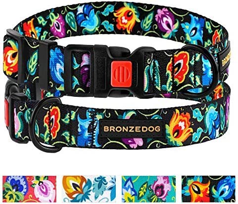 BRONZEDOG Floral Dog Collar Pet Leash and Harness for Small Medium Large Dogs Puppy Adjustable product image