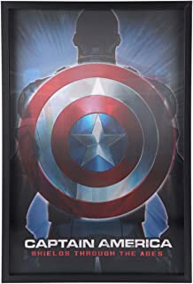 Open Road Brands Marvel Captain America 3D Framed Black Lenticular Wall Art Decor - an Officially Licensed Product Great Addition to Add What You Love to Your Home/Garage Decor